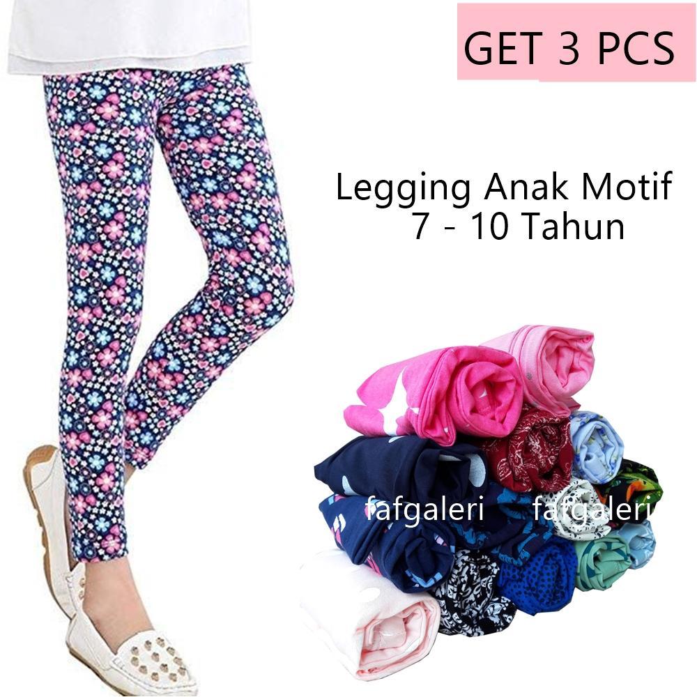 Pakaian Fashion Anak Perempuan Jegging Size L 4 5 6 Tahun Jeging Celana Panjang Joger 3 Pcs Legging Motif 7 10
