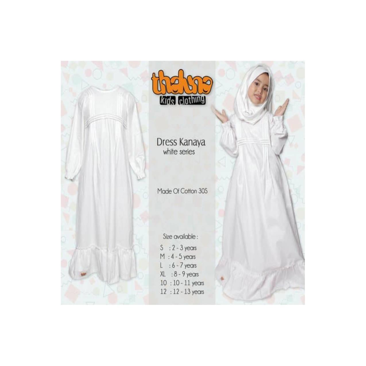 EKLUSIF Set Busana Muslim Anak Balita TK SD warna Putih, Dress Kanaya