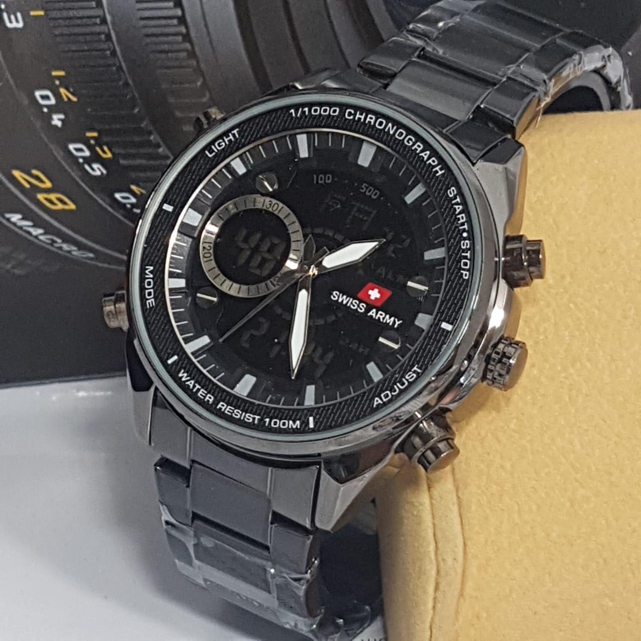 Swiss Army Fashion ORY Fitur Dual Time Toko Grosir 2200M  Jam Tangan Pria  Stainlesstell Terbaru 52bd4959b2