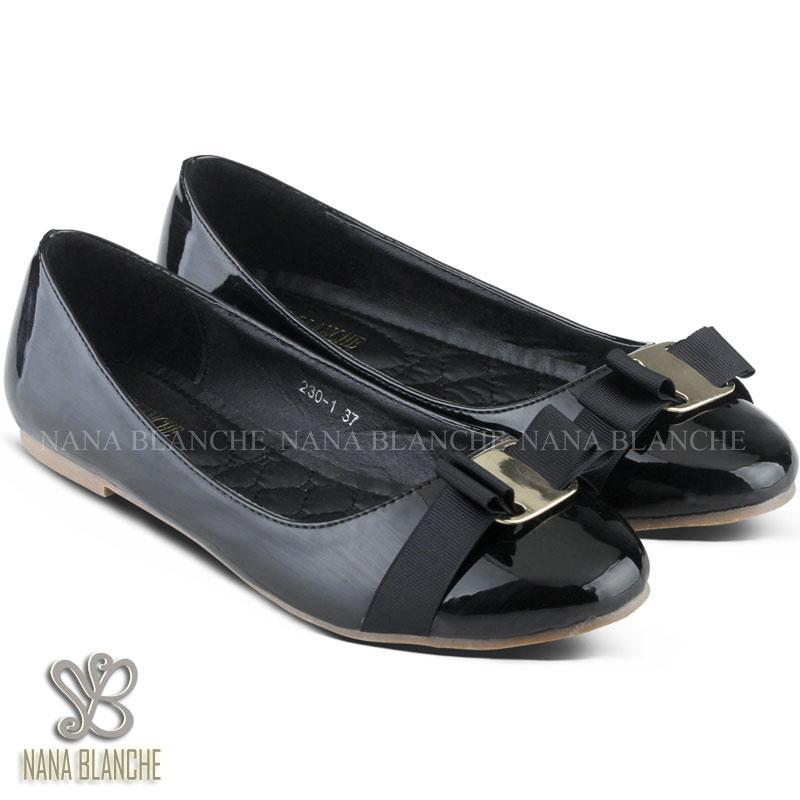 Nana Blanche Veragamo Sepatu Flat Premium, Sepatu Kerja Wanita - 230-1 - Hitam