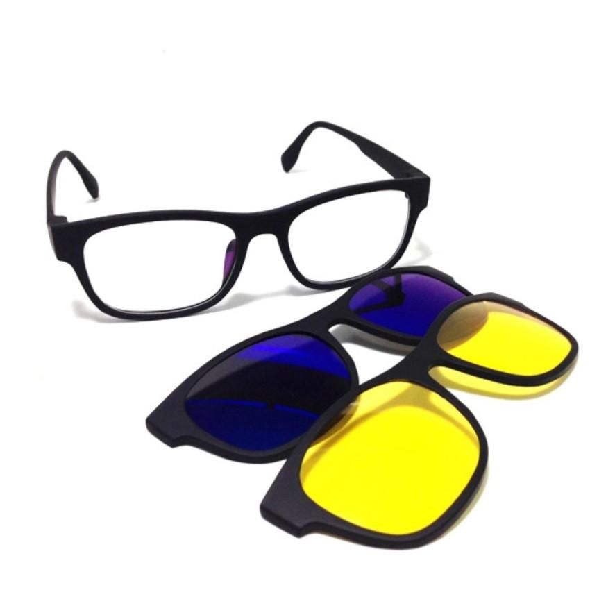 Kacamata Stylist 3 Clip On Lensa Copot Pasang / ASK Vision Sunglasess Magnet Frame 3 In 1 / Advanced Teknologi HD Lensa