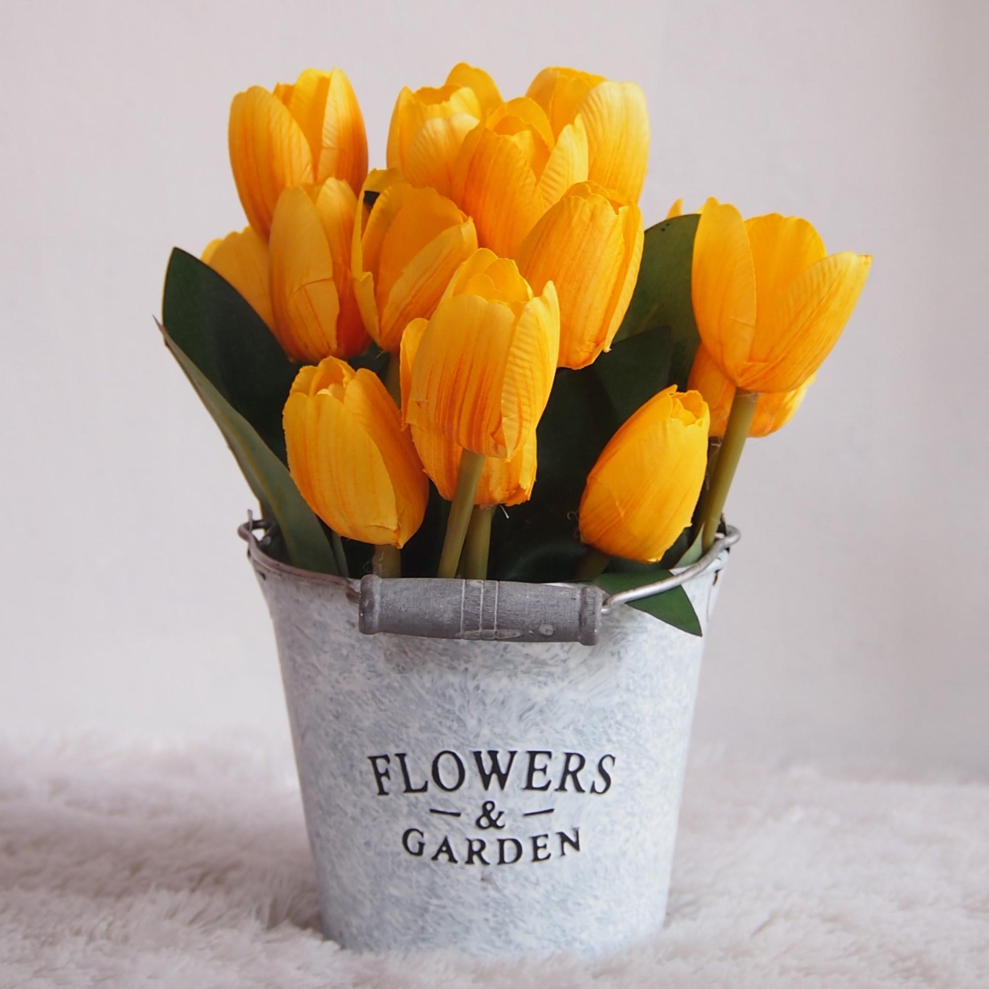 Bunga Pajangan - Bunga Hias Plastik - Bunga Tulip Kuning -Tanaman artifisial 8e8b970060
