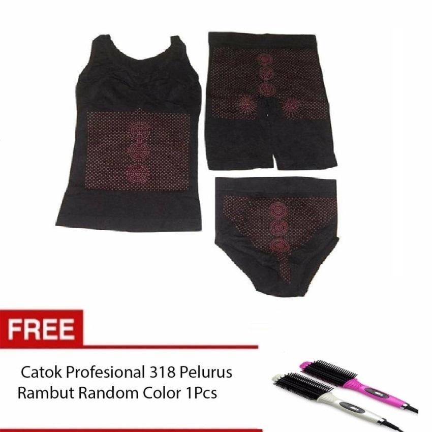 Monalisa Slimming Suit Korset Pelangsing 3 In 1 Hitam Bundling Sisir Catok 318 1 Pcs Random