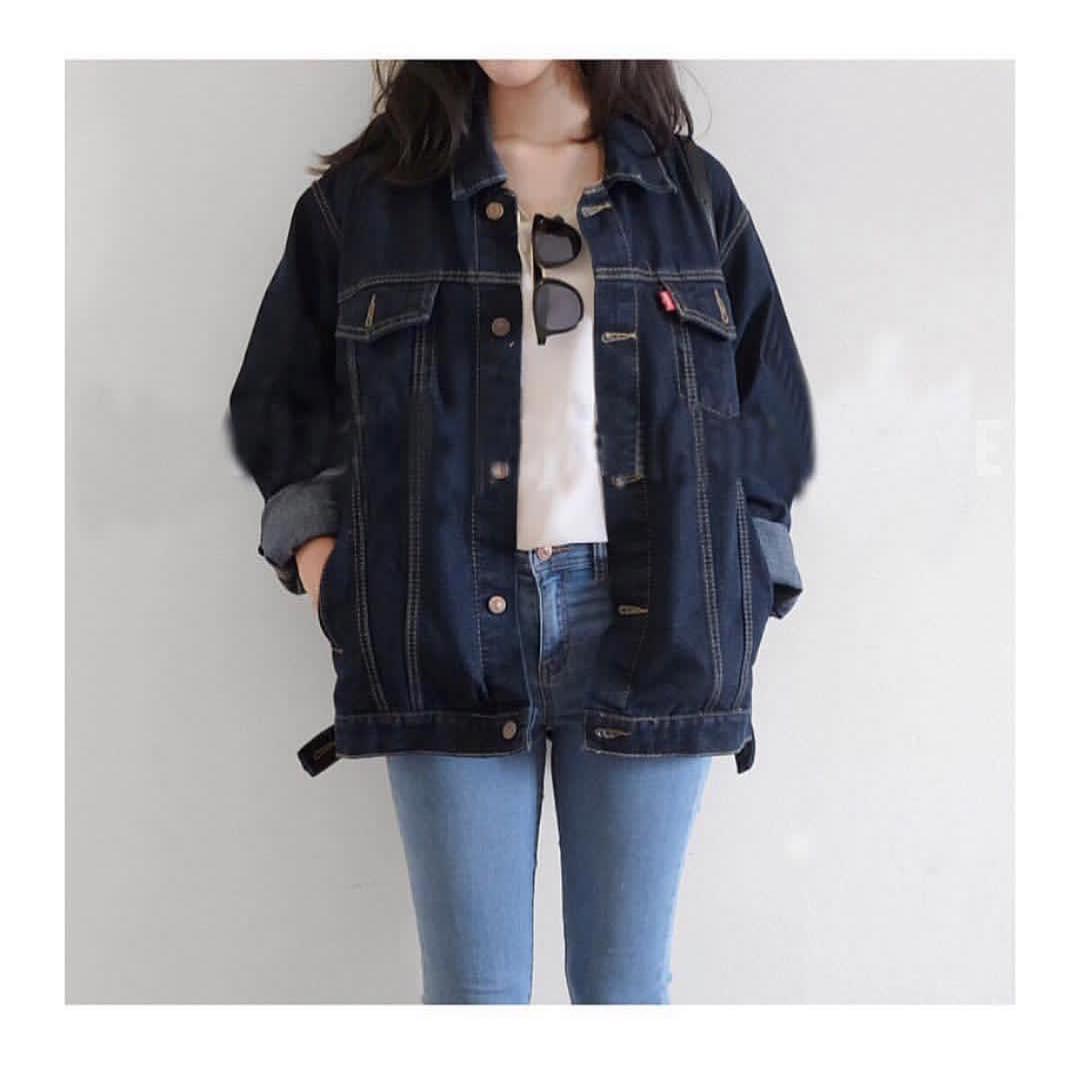 Jaket Jeans Denim Oversize Premium Wanita 12bdea5b9b