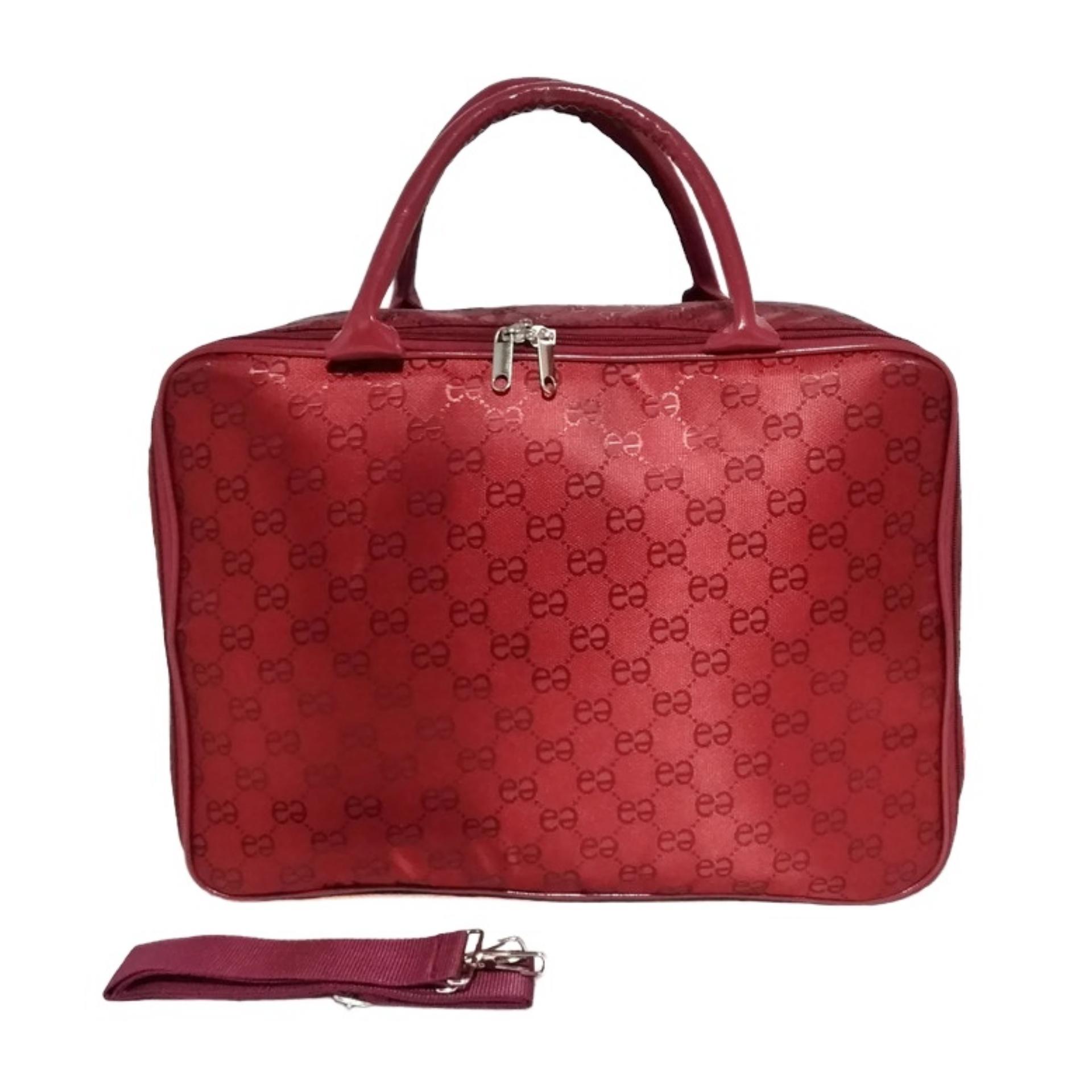 AMT Tas Koper Travel Bag Fashion Pria dan Wanita Bahan Emboss Premium - Red