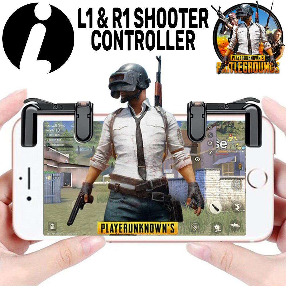 Tombol L1R1 PUBG Mobile New Creative Phone Gamepad Trigger Fire Button Aim Key L1R1 Shooter Controller PUBG V3.0 For All Smartphone - Black