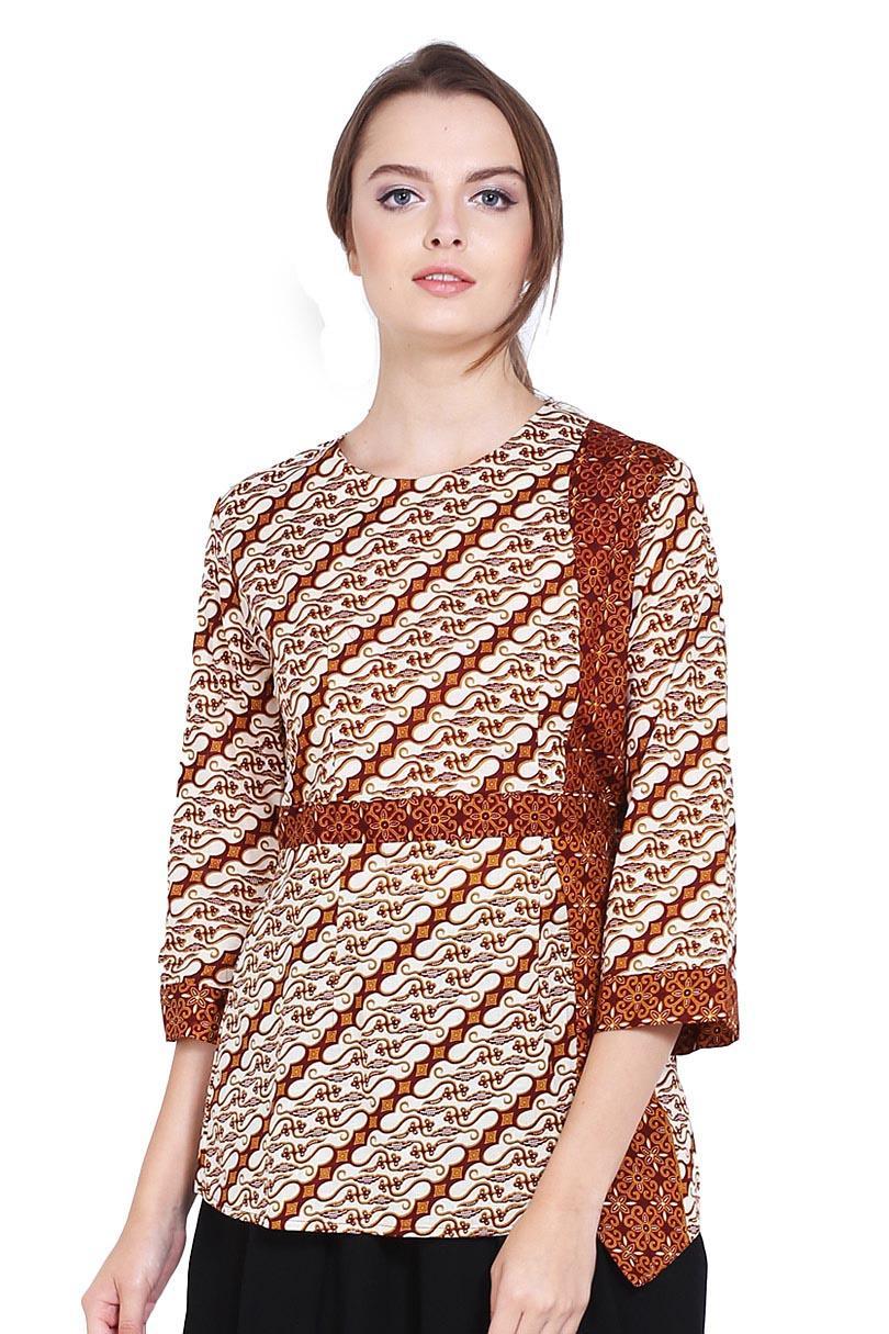 Buy Sell Cheapest Adikusuma Tunik Batik Best Quality Product Deals Hem Bodyfit Udan Liris Abu Tua S Blouse Parang Centung Merah