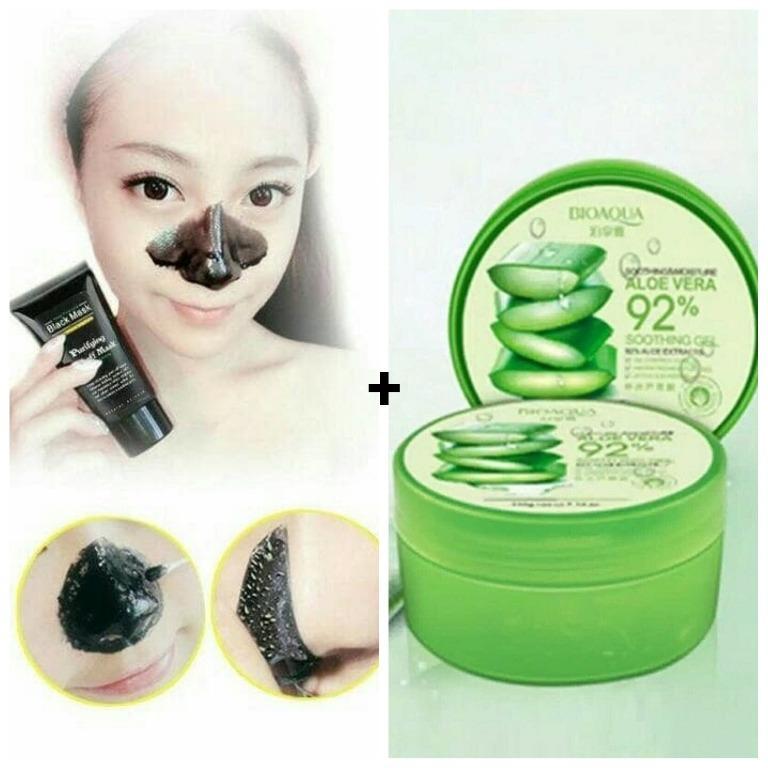 Best BUY !!BIOAQUA Aloe Vera Soothing Gel 220g + Shills Black Mask Kiss Beauty Deep Cleansing Acne