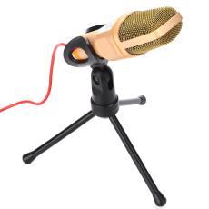 Kamus Cavalerie Mikrofon Kondensor Portable Emas Desktop Live Streaming