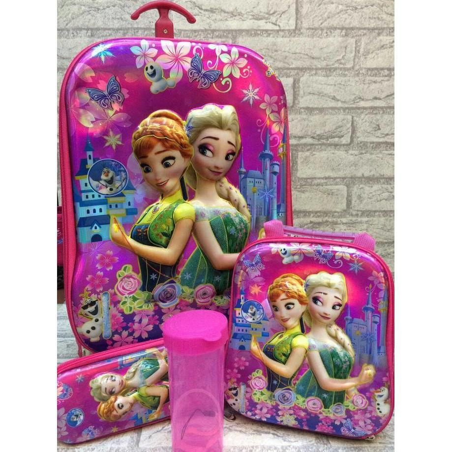 Tas Trolley Troli 6 Roda 6 4In1 2 Ruang 6D Sekolah Anak Frozen Elsa - 0Zn8sg