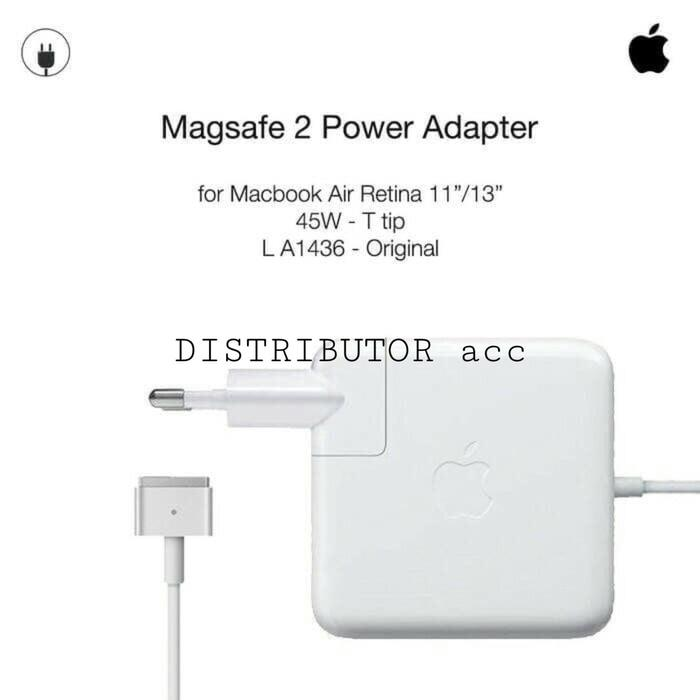 Harga Diskon!! Adaptor Original Charger Macbook Pro Air Magsafe 2 45W +Free Ac Plug T - ready stock