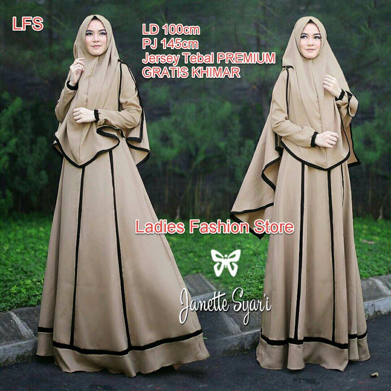 Baju Wanita Shop Dress Baju Gamis Muslim Imelda / Gamis Muslim Syari Syar'i Fashion Maxi Polos / Syari Simple Elegant / Baju Muslim Wanita (nettaja) SS - Mocca