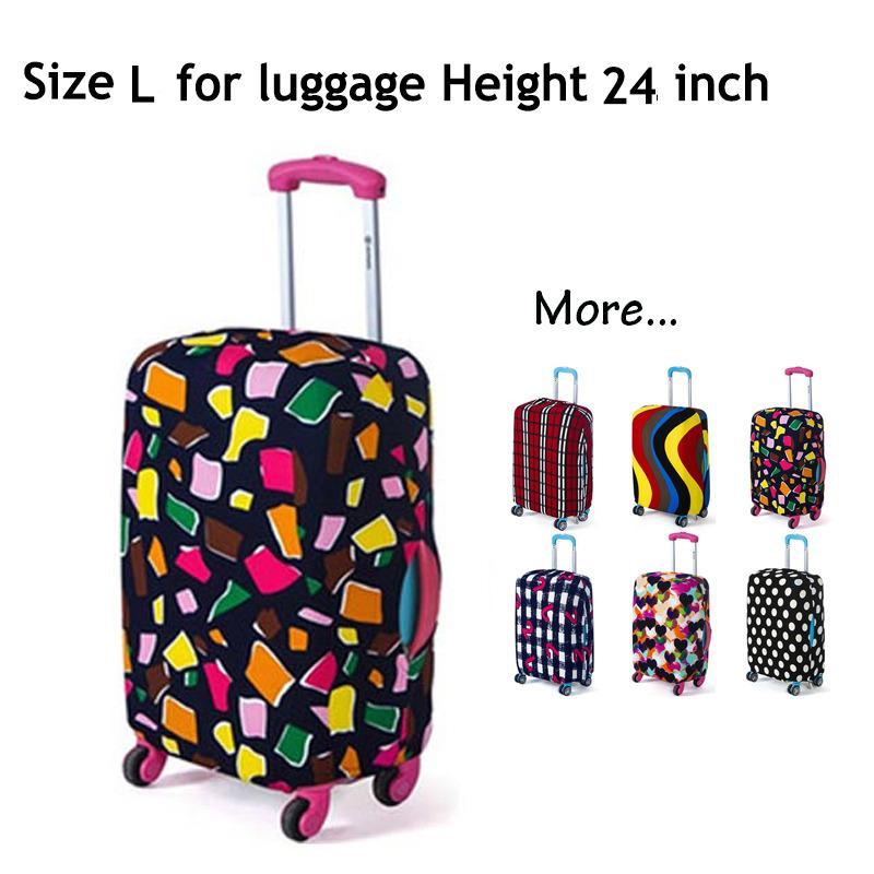 Koper Cover, Fabric Stretchable Tahan lama Luggage Cover Pelindung Dustproof untuk 24 inci Koper, Aksesoris Perjalanan (gaya: POLYGON-L)-Intl