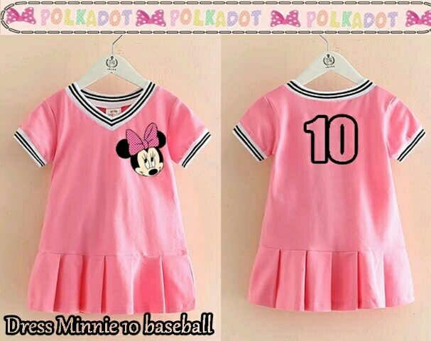 dress minnie baseball /baju anak/ dress anak/ baju anak pink