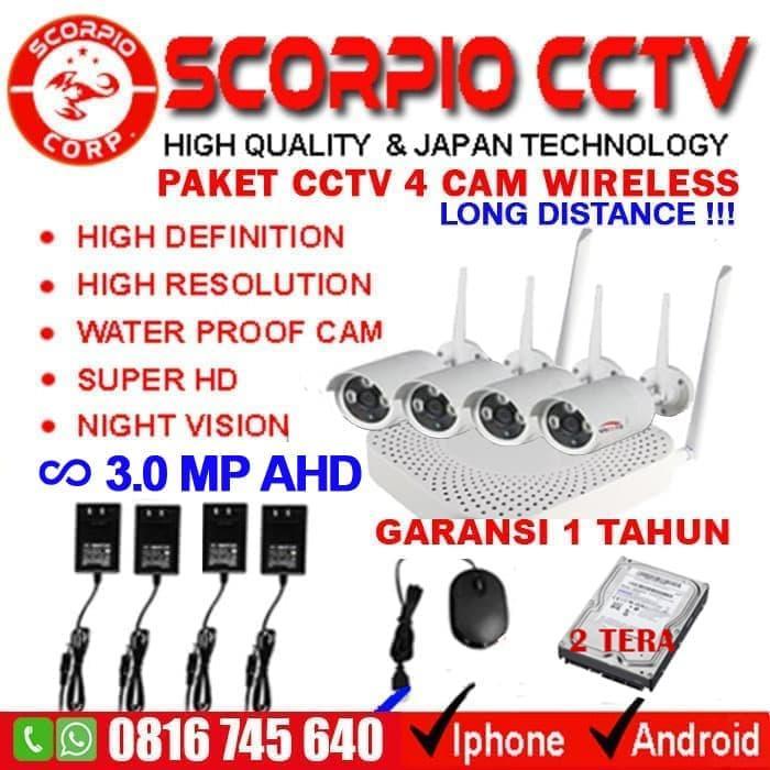 Sedang Diskon!! Paket Cctv 4 Ip Camera Wireless Super Hd Wifi Kamera + Hardisk 2 Tera - ready stock