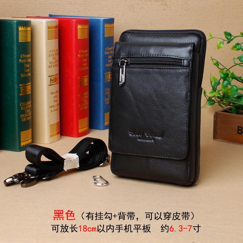 Pria Lapisan pertama kulit sapi tas pinggang Kulit asli kecil tas bahu dengan satu tali tas selempang layar besar 6.44-inch 6.8-inch 7-inch HP Tas Pinggang