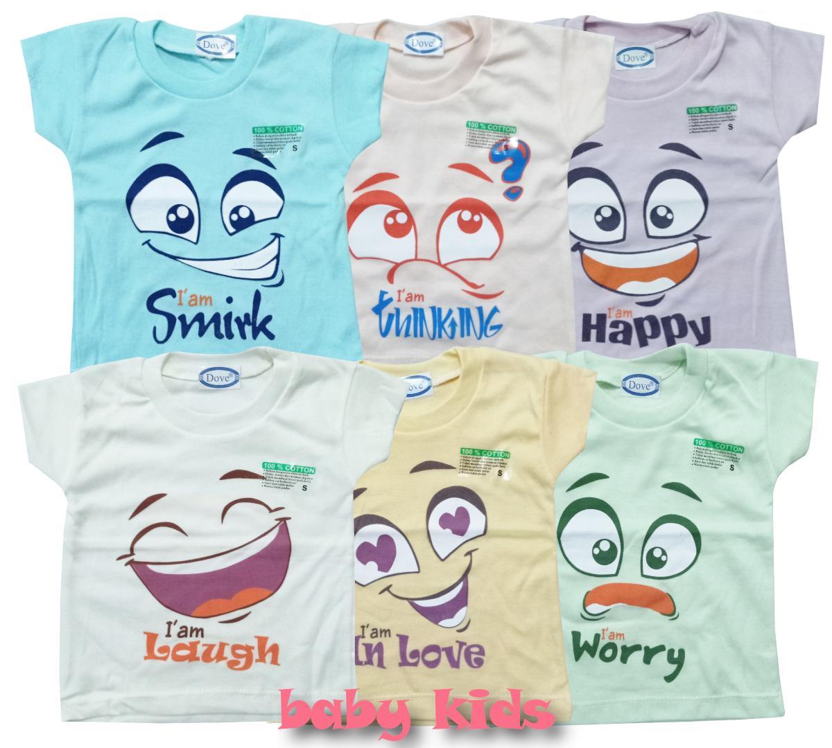 Baju Kaus Oblong Isi 6 Pcs Kaos Warna Motif Anak Bayi Laki Laki Dan Perempuan Dove By Baby Kids.