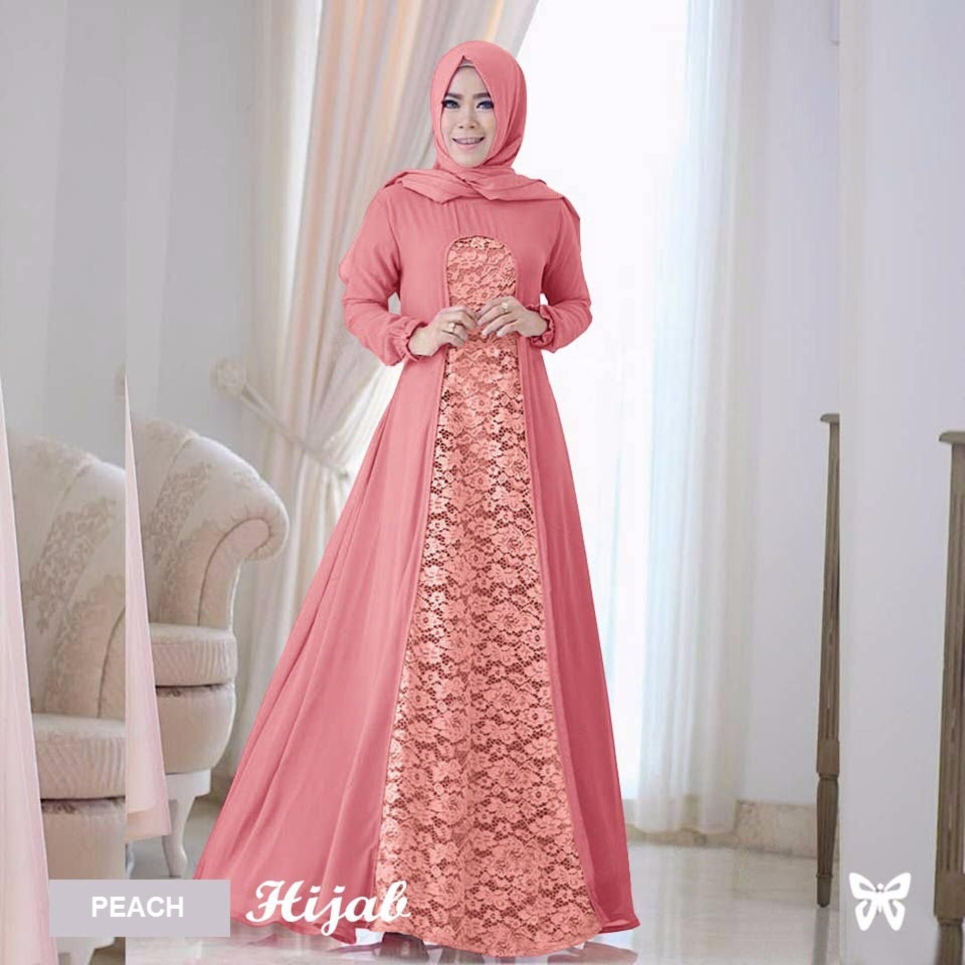 0425849183b Maxi Dress Lengan Panjang Set 2 in 1 ( Plus Kerudung ) MSR058   Gamis Syari