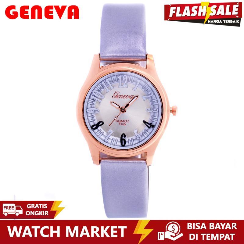 [ FLASH SALE ] Geneva Premium 011 - Jam Tangan Wanita - Strap Kulit Abu