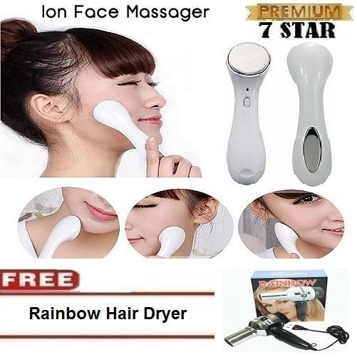 Pemijat Wajah 7STAR & Setrika Wajah Microlonic Ion Pijat Wajah + Gratis Rainbow Hair Dryer Stainless Steel 1Pcs