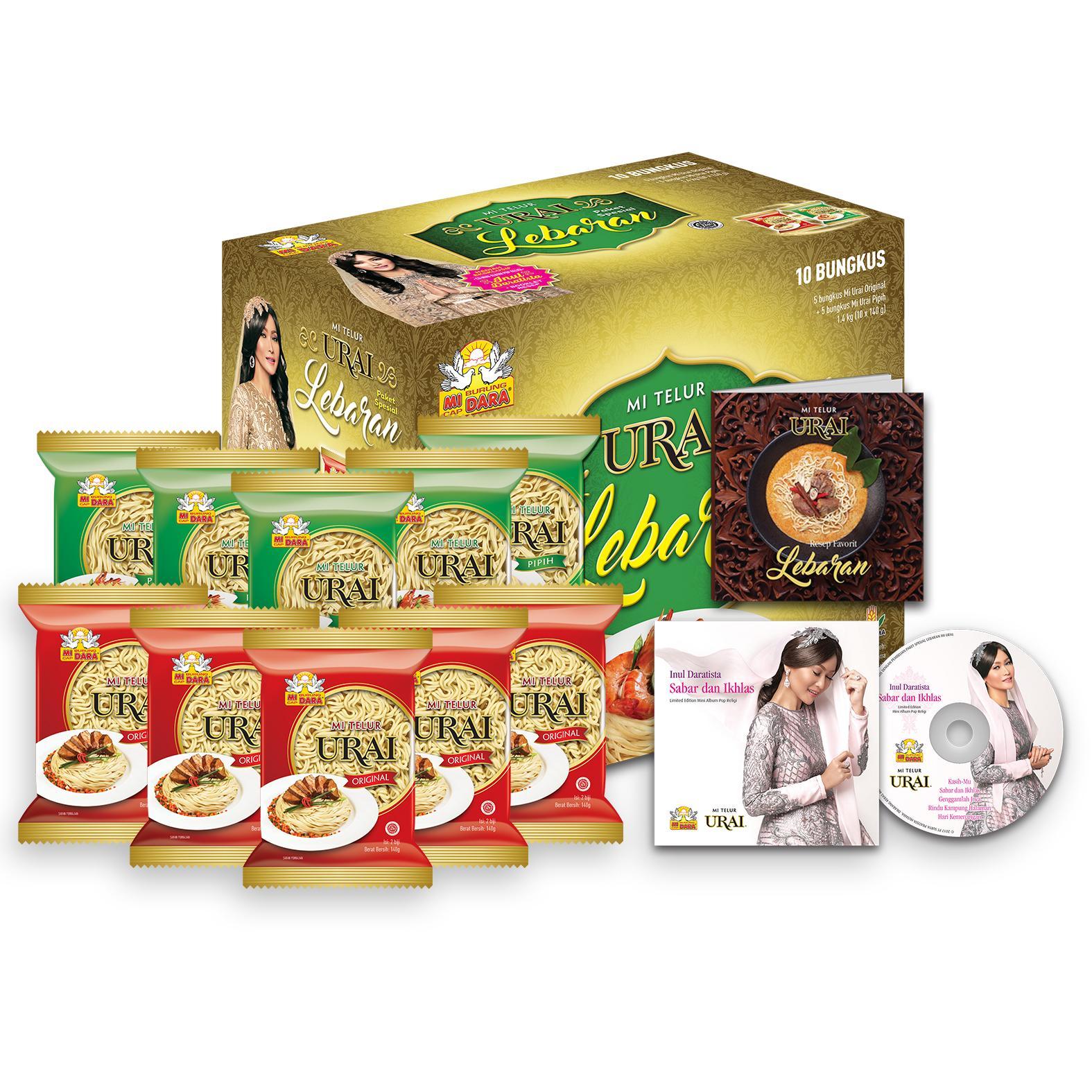Paket Lebaran Mi Urai dari Mi Burung Dara (10 bungkus Mi Urai @ 140gr + bonus CD Mini Album Inul Daratista + bonus booklet resep lebaran)