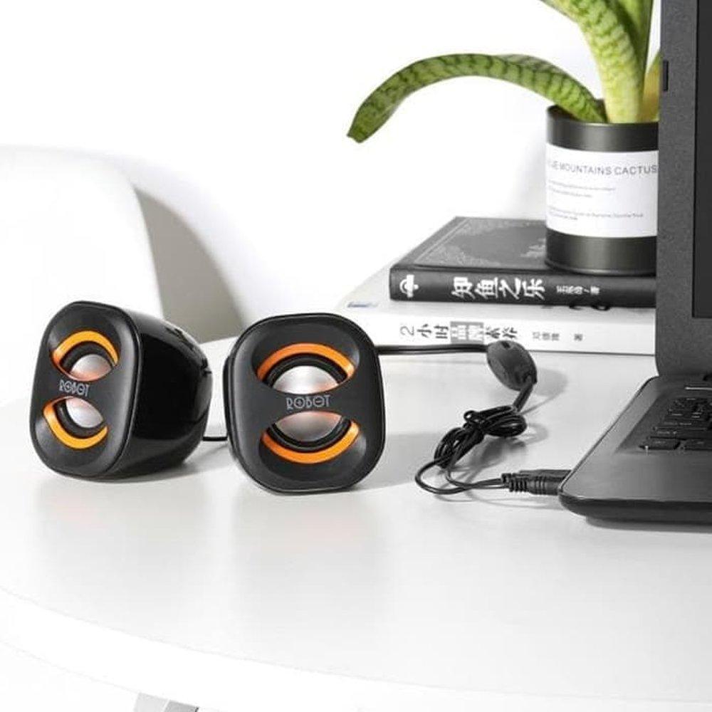 Speaker Mini Portable Robot RS160 USB untuk Smartphone - Multimedia dan Musik