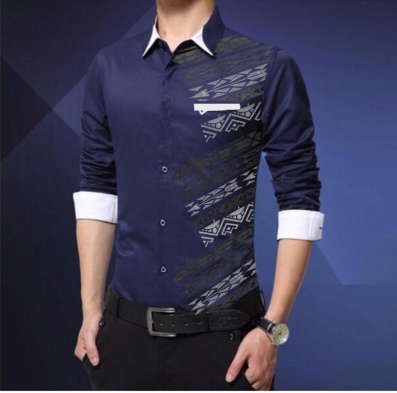 Azure Hem DICKA Baju Formal Pria Lengan Panjang Atasan Kemeja Kerja Polos  Slimfit Hitam Putih Maroon 3dc5e2aace