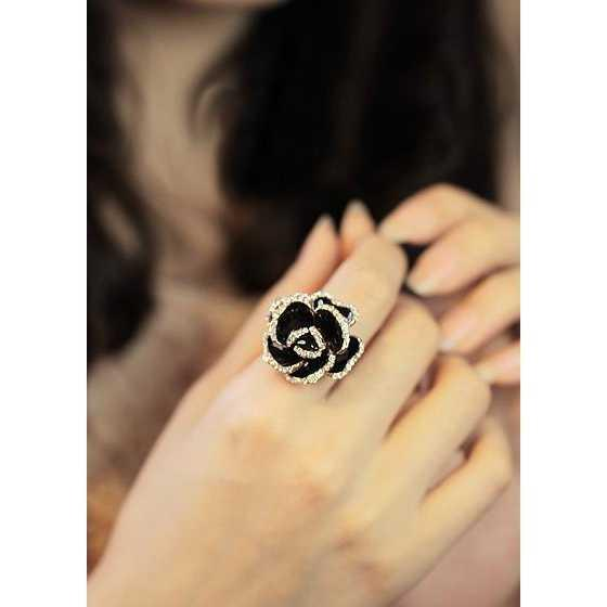 BEST SELLER cincin berlian mawar hitam / black roses diamond ring JCI007 TERMURAH