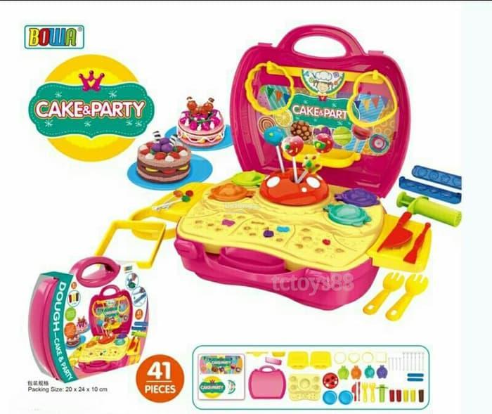 Mainan Anak Perempuan Laki Laki DOUGH CAKE & PARTY KOPER - MAINAN EDUKATIF LILIN