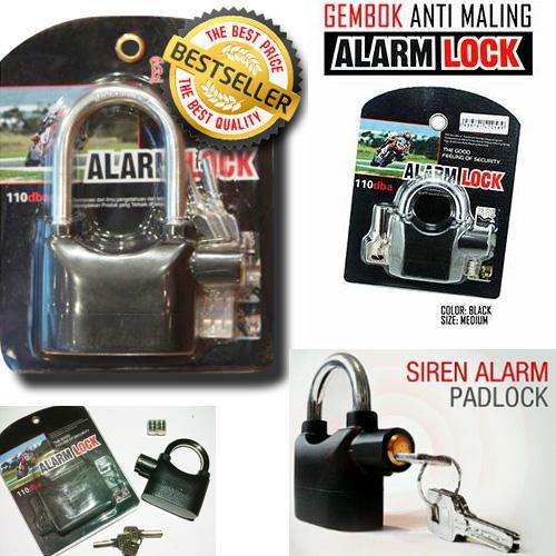 PROMO!! kunci gembok cakram Ban motor gembok Alarm padlock getar Ring Pendek MURAH / DISKON