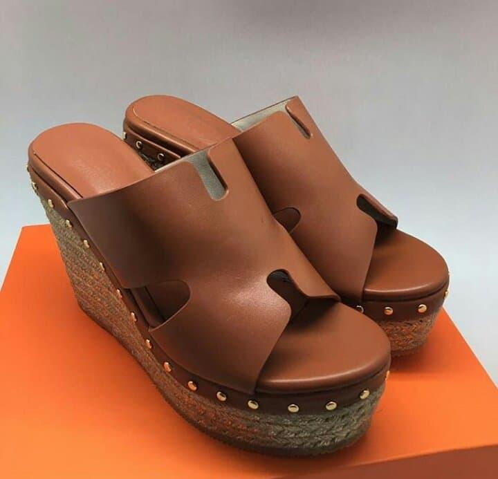 HERMES WEDGES COKLAT MIRROR QUALITY
