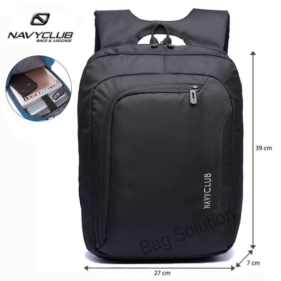 Navy Club Tas Ransel Laptop Tahan Air - Tas Pria Tas Wanita Tas Punggung - EHEJ Backpack Up to 15 inch - Hitam