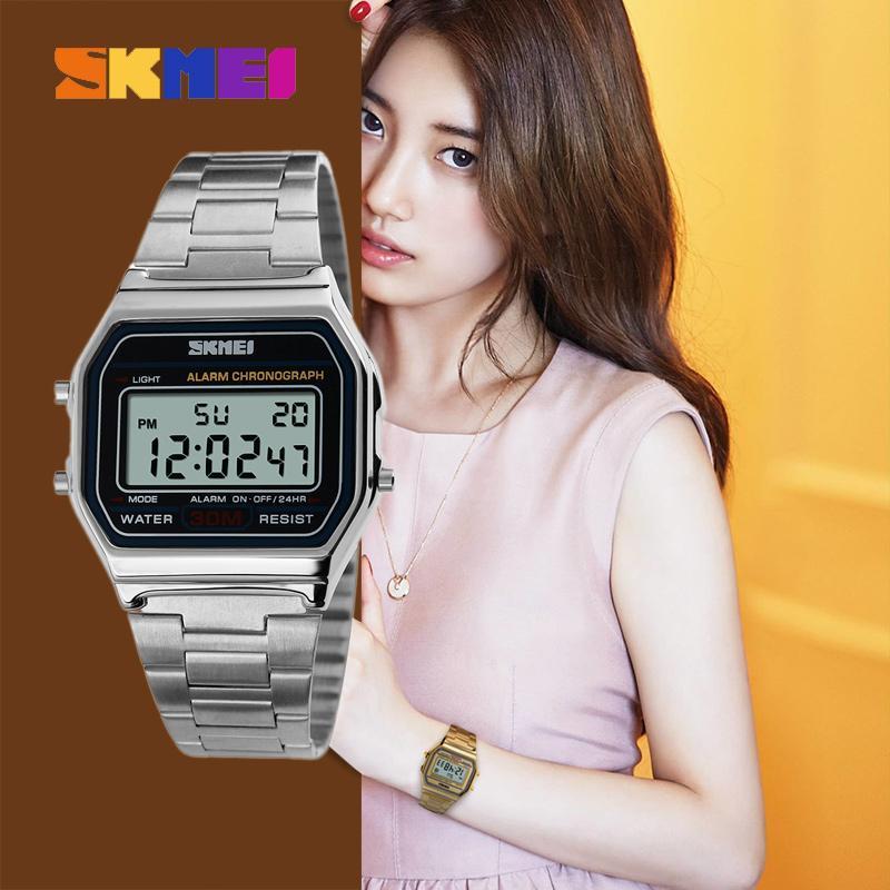 Jam Tangan Wanita Stainless Digital LED SKMEI 1123