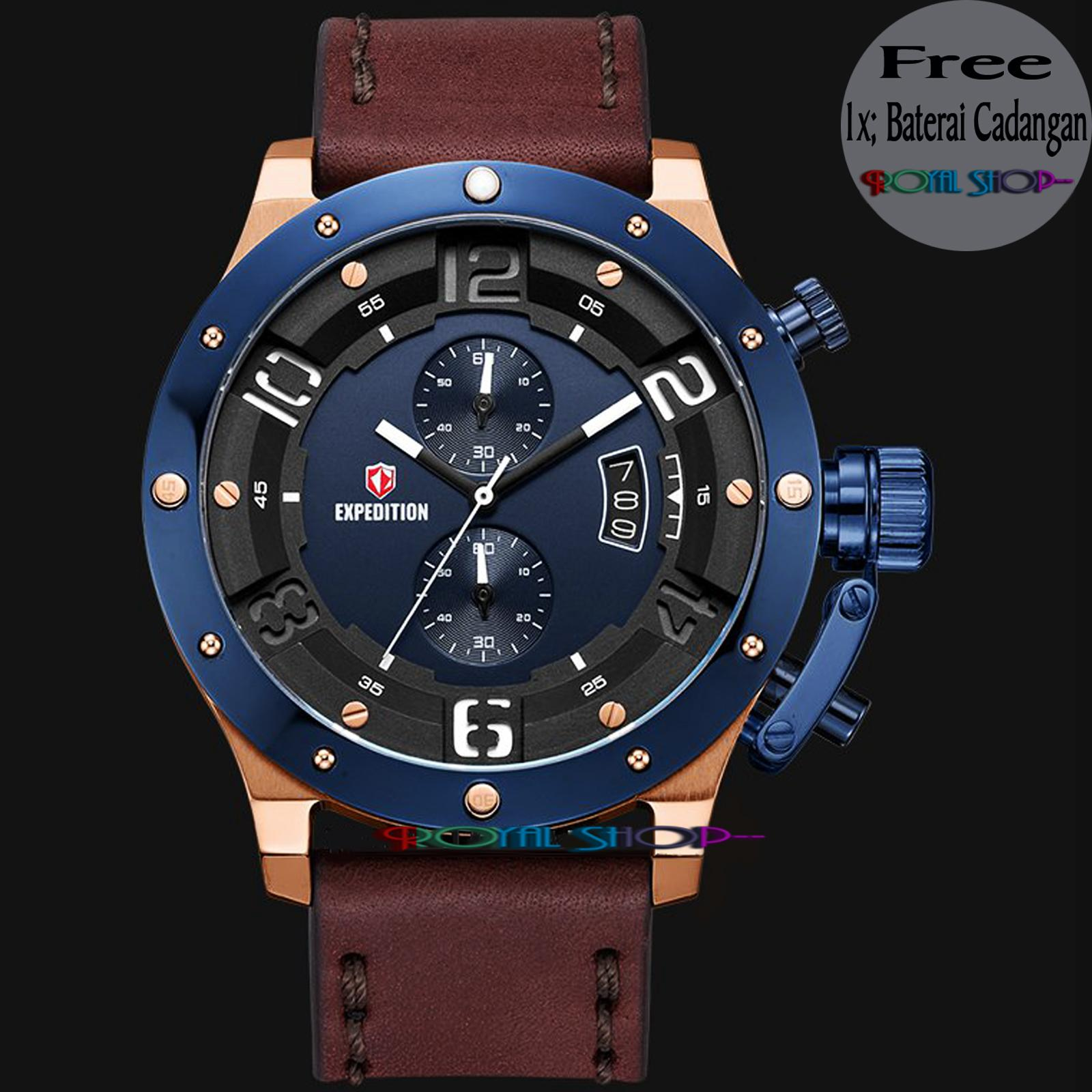 Expedition E 6381 RS Chronograph Men Blue Dial Brown Leather Strap