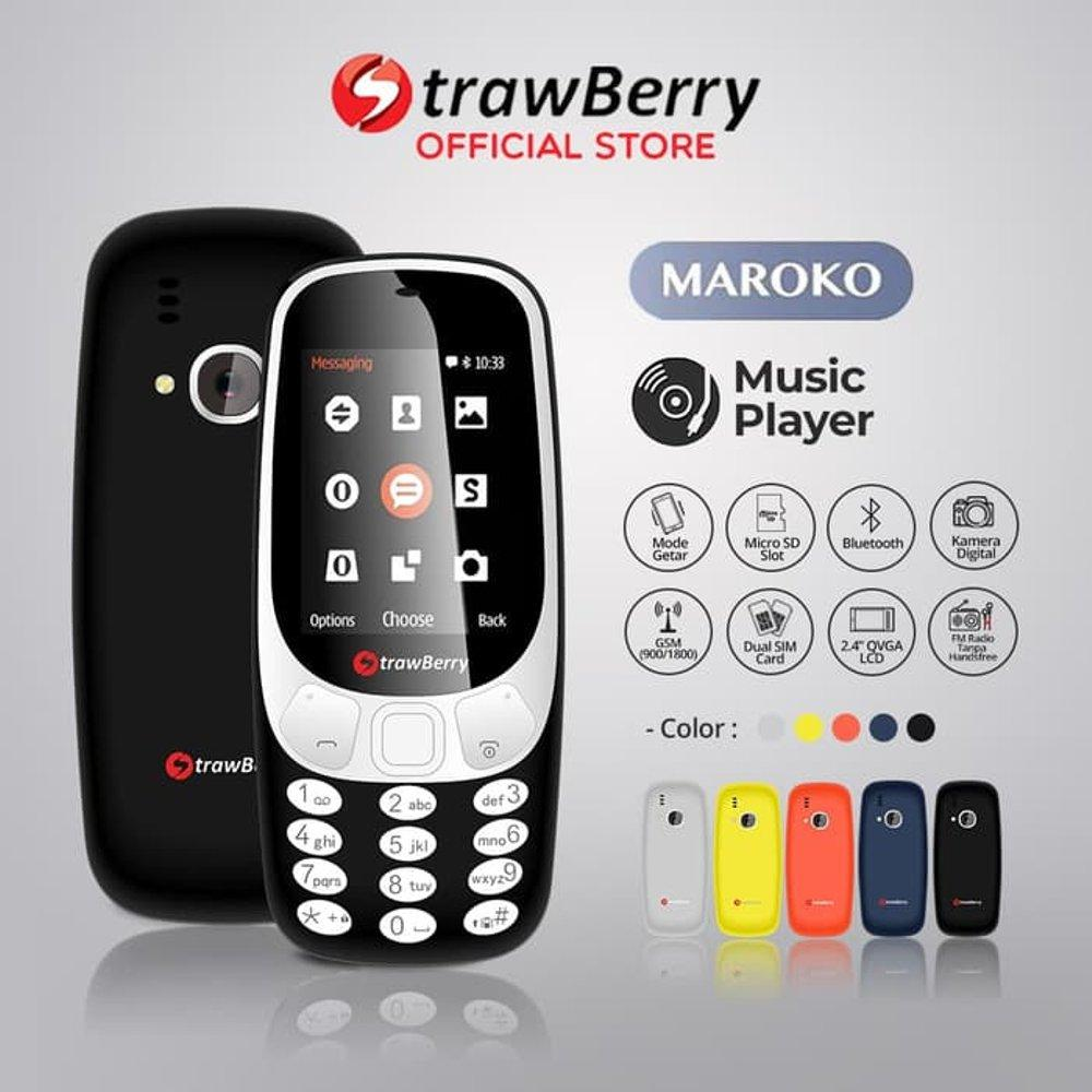Strawberry Maroko Mirip Nokia 3310 - 2,4 Inch - Up To 16GB - dual sim - Radio FM / Hp unik / hp murah