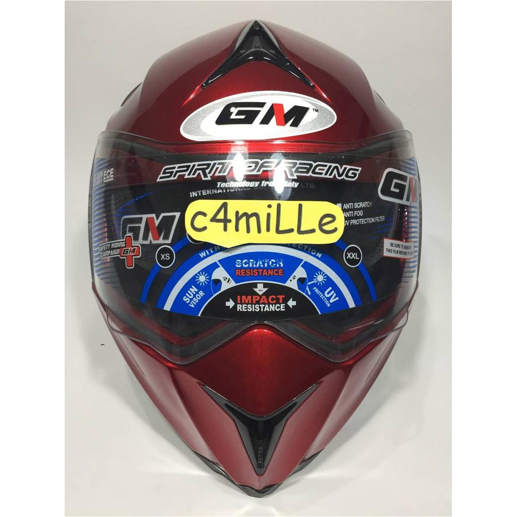 HELM GM AIRBORNE SOLID RED MAROON DOUBLE VISOR FULL FACE