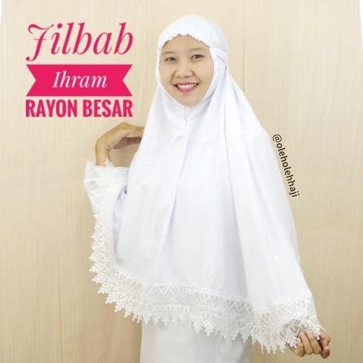 Jilbab Ihram Ihrom Putih Polos Rayon Besar Perlengkapan Haji dan Umroh