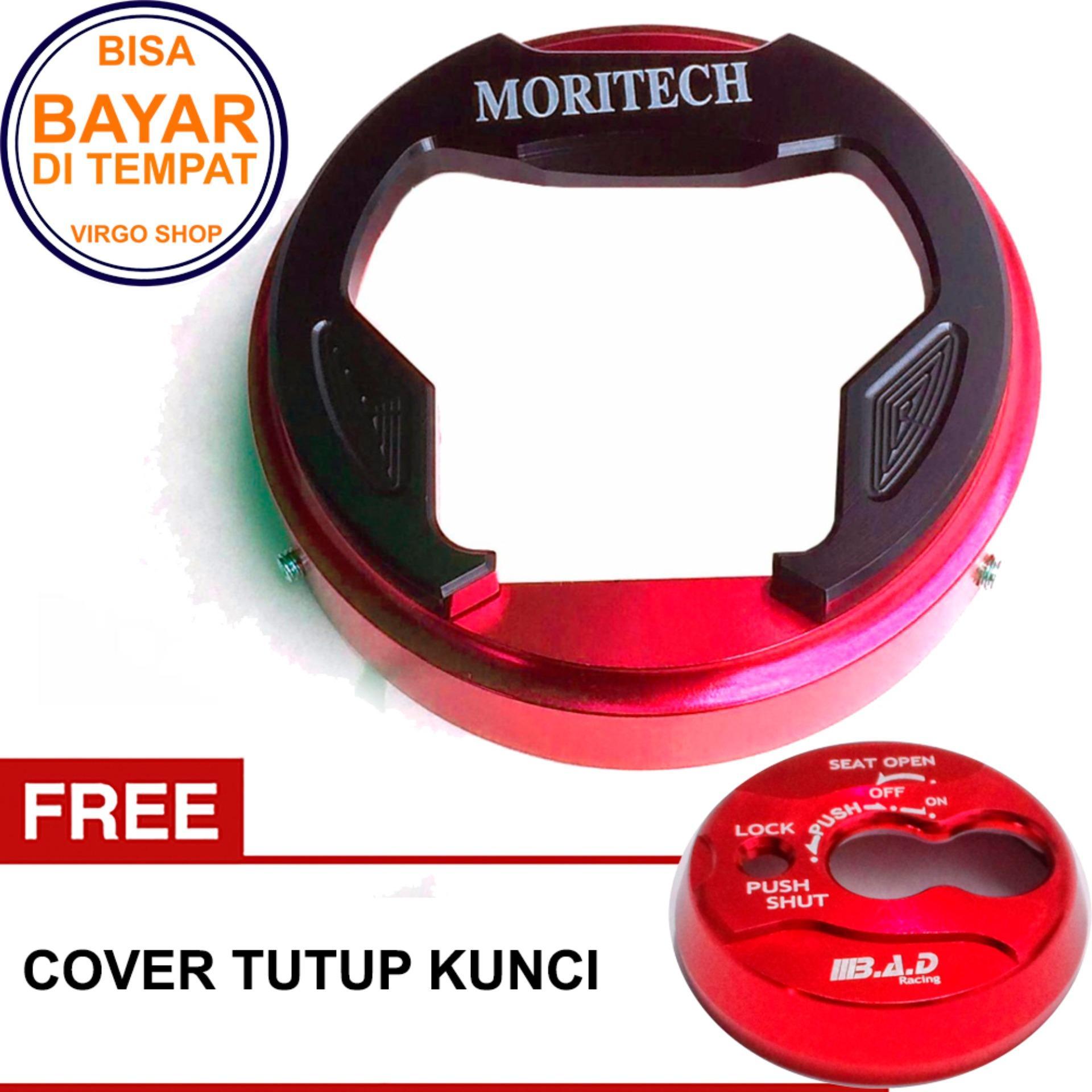 Cover Tutup Bensin Yamaha NMAX - Cover Tutup Tangki Full CNC Mengkilap - Merah Bonus Tutup Kunci Ya