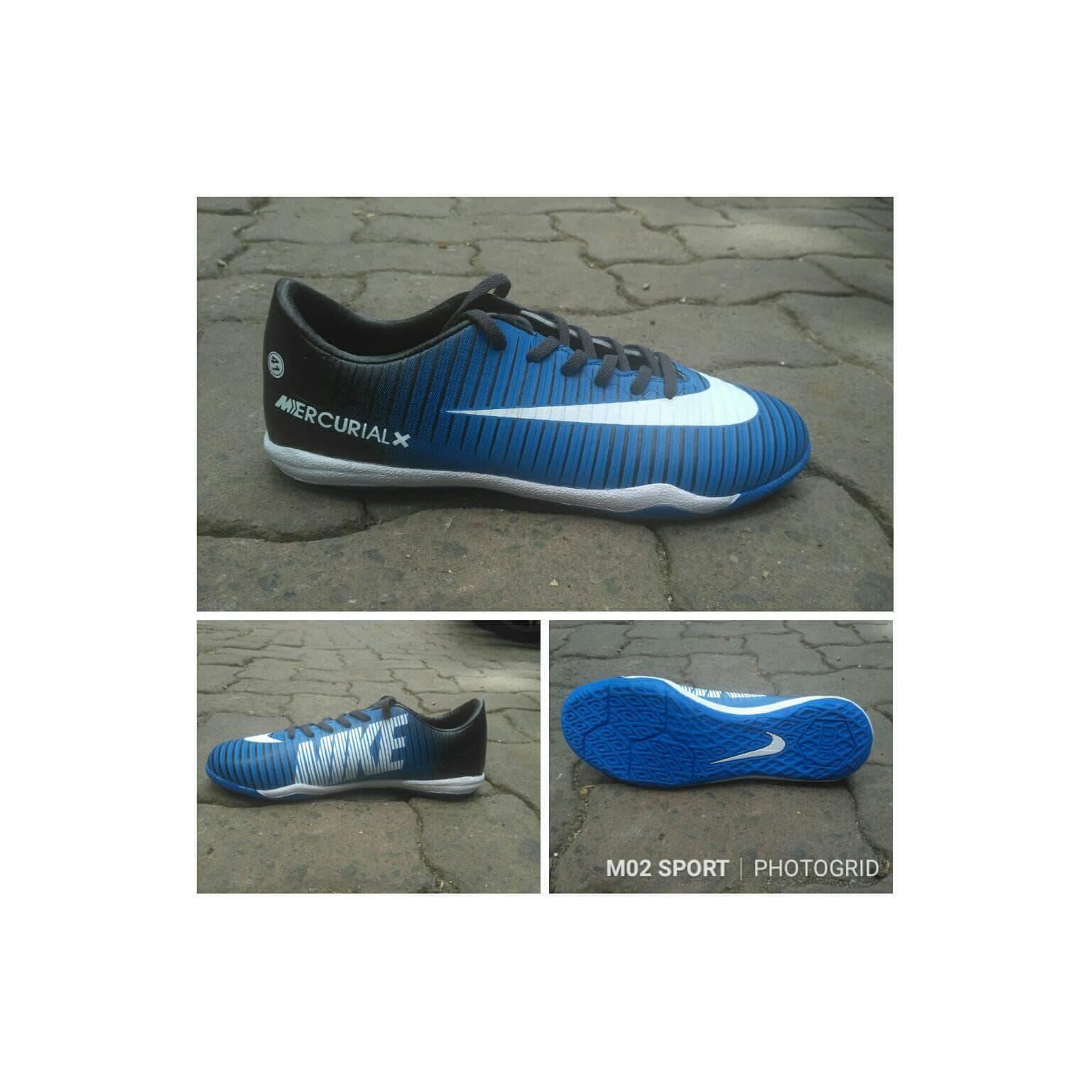 Sepatu futsal nike mercurial X hitam kombinasi biru sol karet