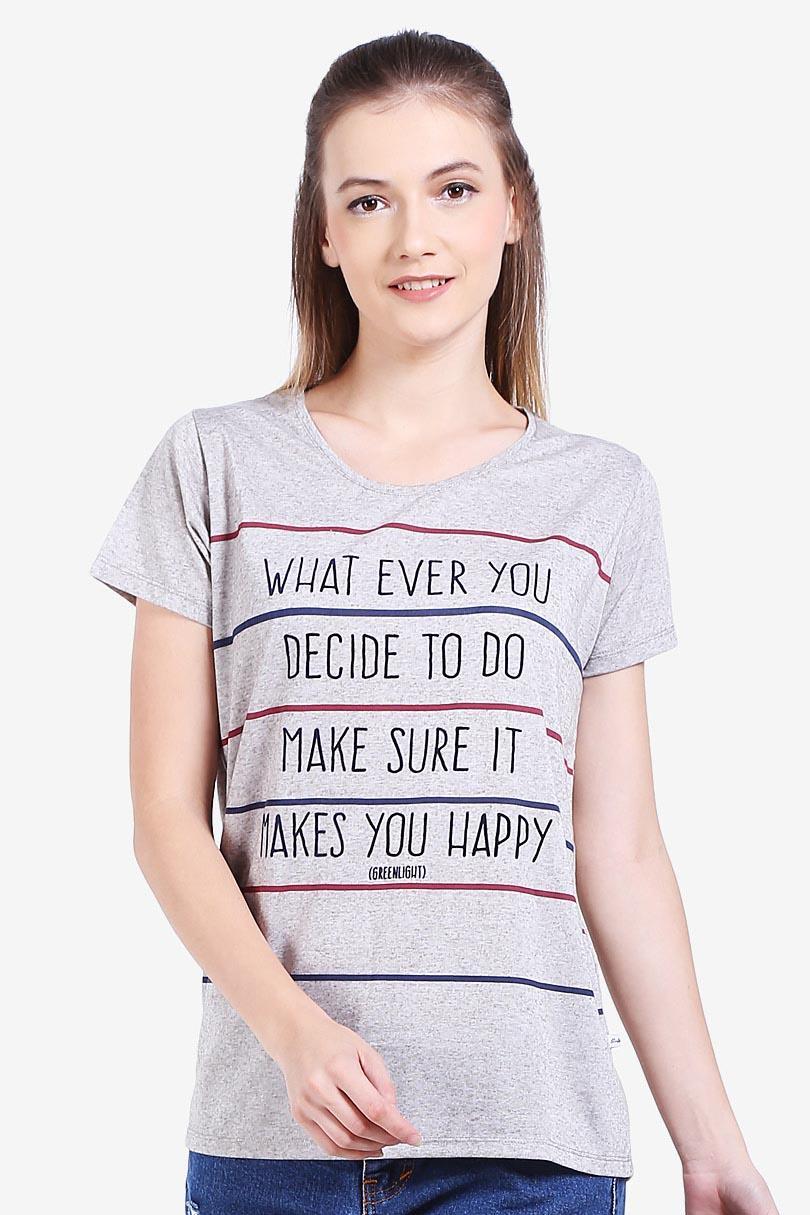 Greenlight Fashion Pakaian T-Shirt Wanita Ladies Tshirt Brown
