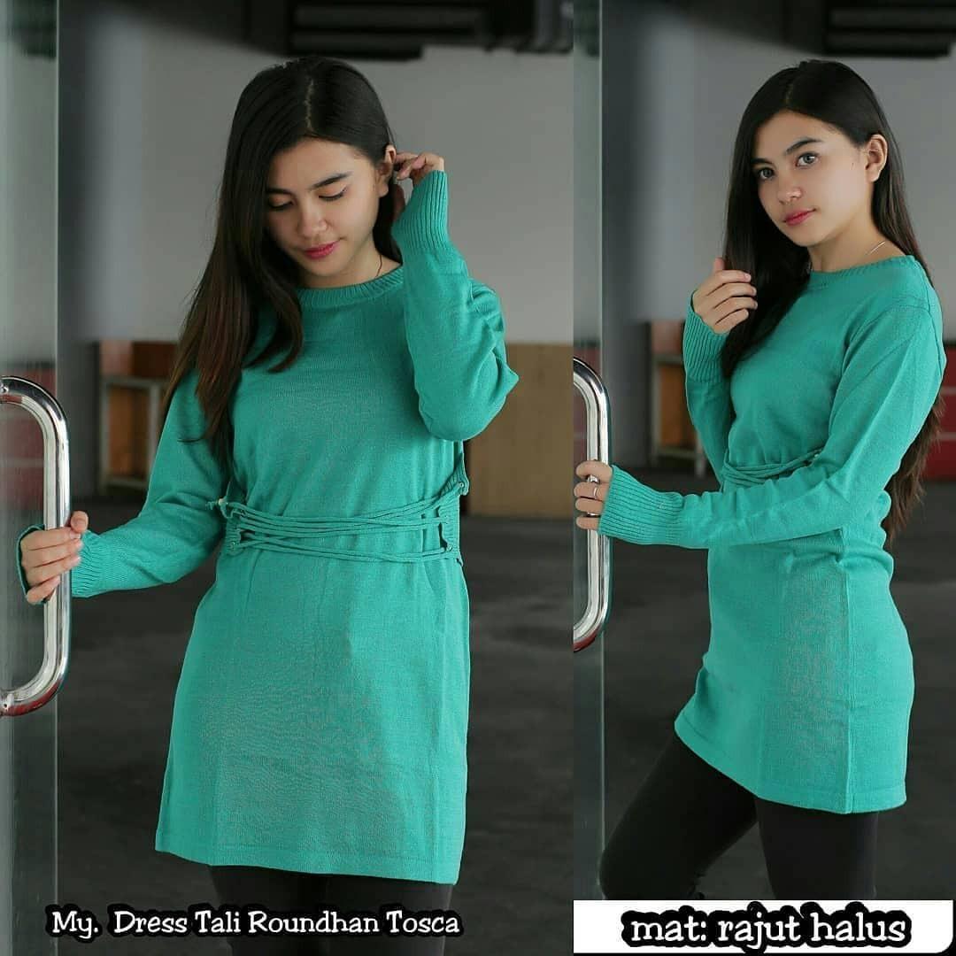 Hijab Bandung Cardy Rajut Dress Tali Roundhand - Multicolor