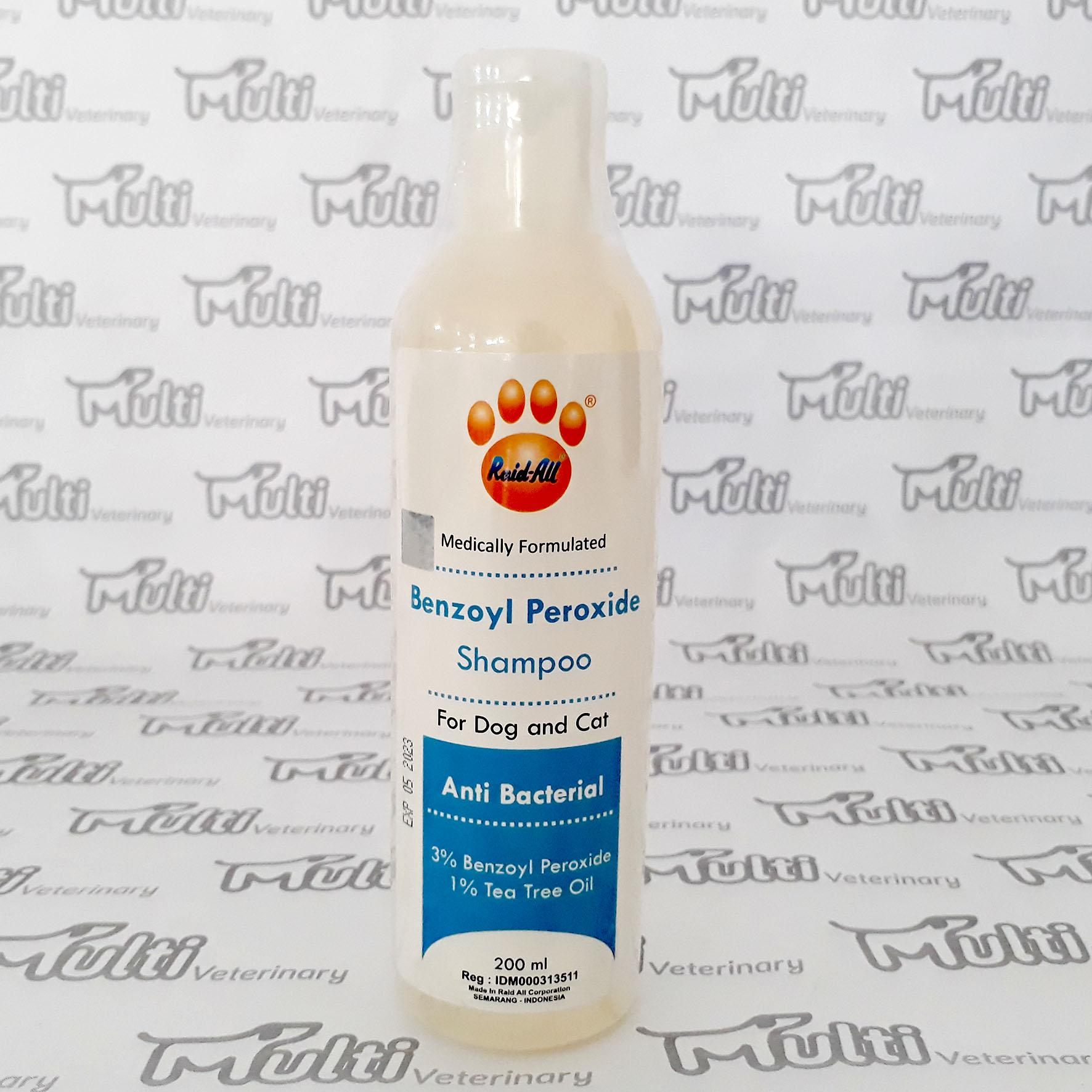 Shampoo Benzoyl Peroxide 200 Ml - Anti Bakteri Kucing Dan Anjing Raid All By Multi Veterinary.
