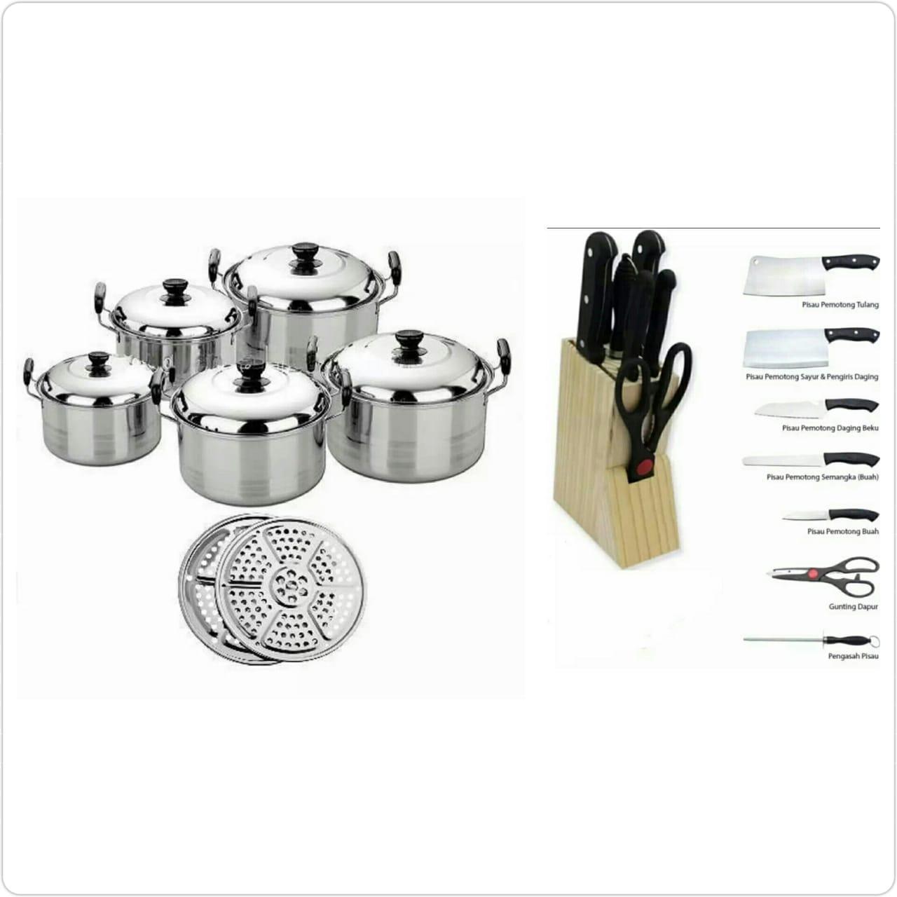 Paket Happy Life America High Pots Panci Set 5 in 1 + Kukusan dan Pisau Dapur set / Knife Set Stainless Steel - 8 Pcs Hitam