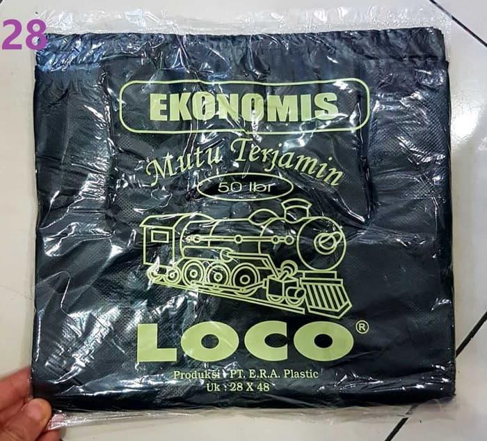 Kantong Plastik Loco Hitam Ekonomis Uk. 28X48 Terlaris 50Lbr -