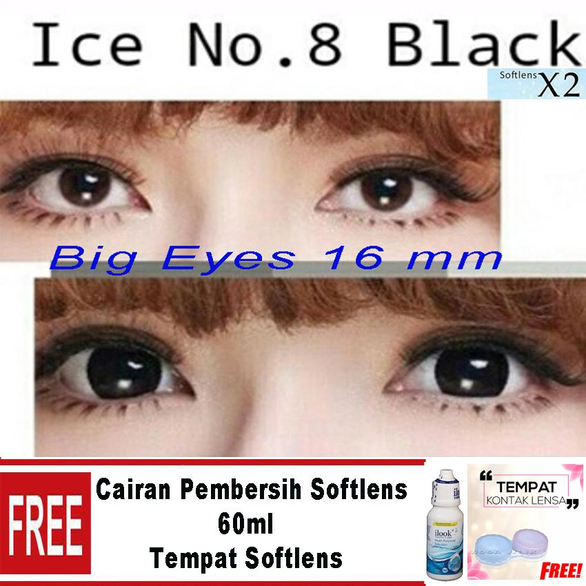 X2  N8 Ice Nude Softlens - Black Gratis Cairan Softlens 60ml + Lenscase