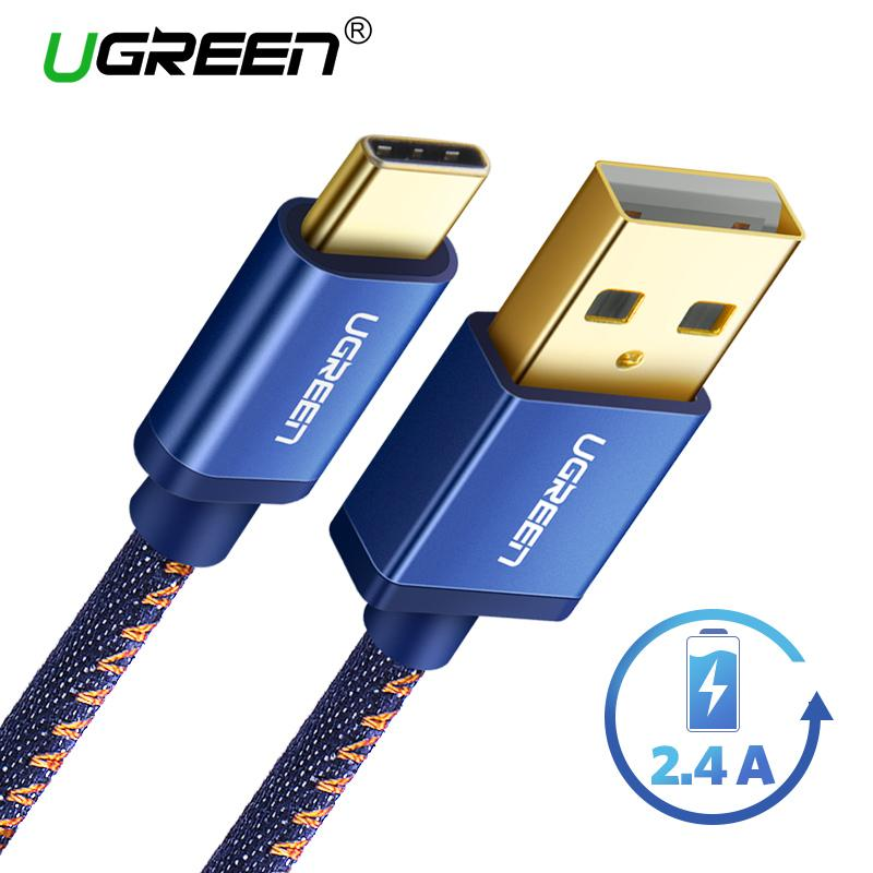 UGREEN Original 100CM Type C Cord Quick Charge for Samsung s8 Samsung s9 Huawei handphone hp Jeans Braided USB Type C to USB Fast Charger Cable Cord