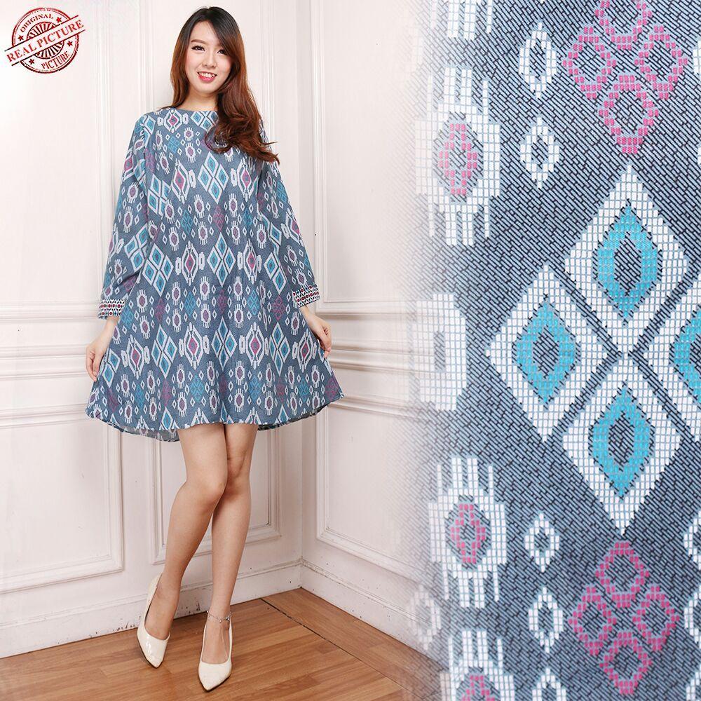 Cj collection Dress batik maxi pendek atasan blouse kemeja tunik wanita jumbo mini dress long tunik