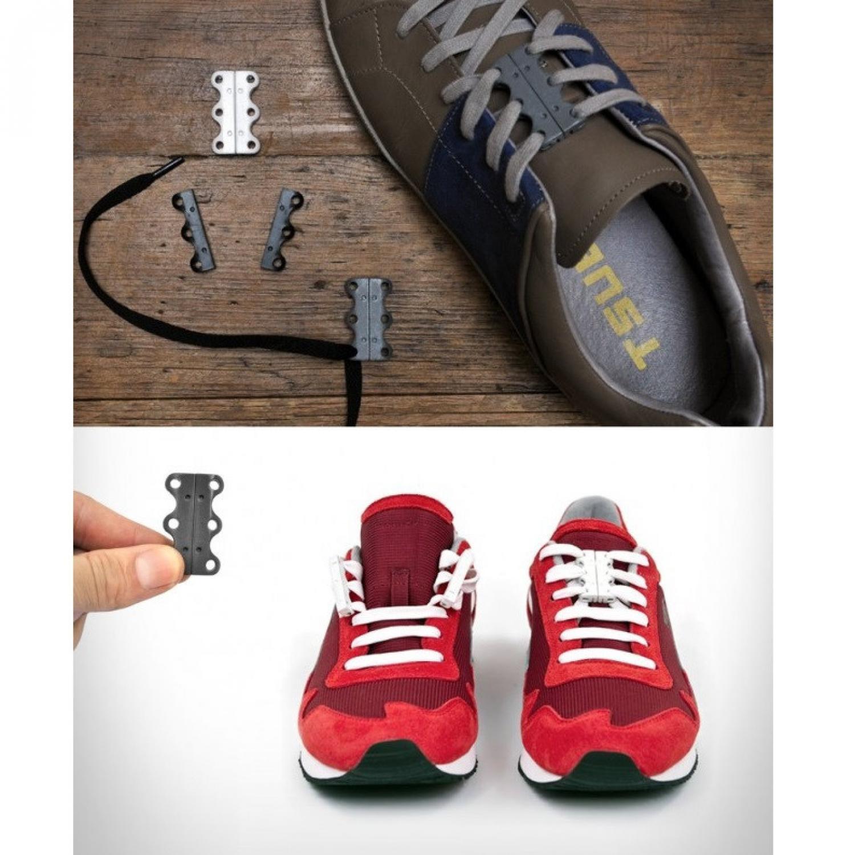Eigia Tali sepatu magnet Red Gesper Pengikat Tali Magnetic Penutup Tali s0010 - Black