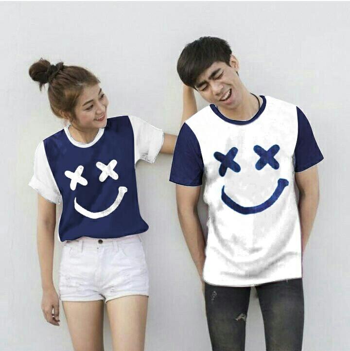 Baju Wanita Shop Kaos Couple Xoxo / Tshirt Polos  / Kaos Pasangan Lengan Pendek CP / Sweater Polos / Kaos Lucu Pria Wanita BG (XOXO) - NAVY PENDEK