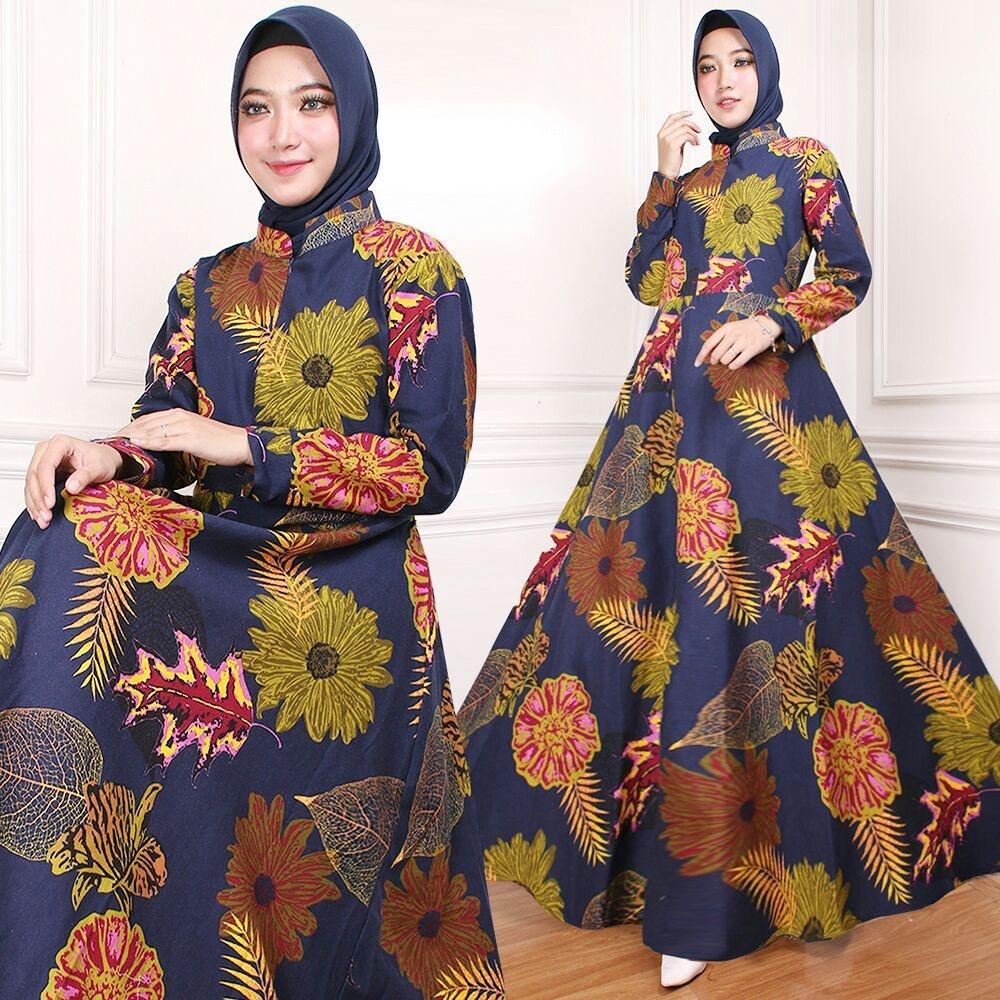 Flavia Store Maxi Dress Lengan Panjang Busui Motif Bunga FS0106 - NAVY BIRU DONGKER / Gamis Syari / Gaun Pesta Muslimah / Baju Muslim Wanita Syar'i / Tzindah